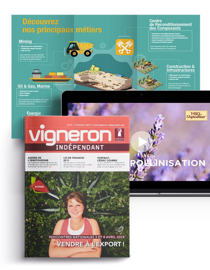 Flyer, vidéo, magazine